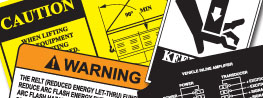 Industrial Warning  Labels collage