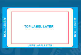 Sample of a Custom Shape Cover Up Black Back Adhesive Label
